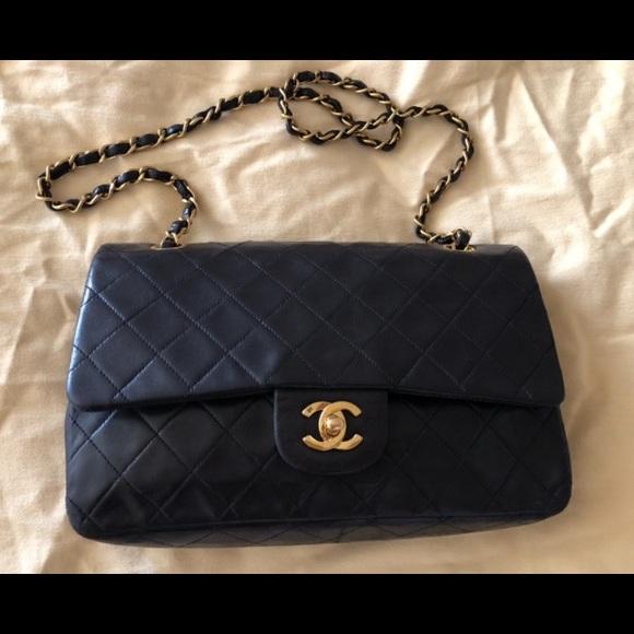 b5d36094aa7742 CHANEL Handbags - Vintage Chanel Medium Double Flap Lambskin Handbag